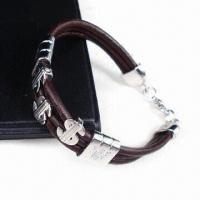 Fashionable Brown Leather Bracelet with Thick Alloy Plating, White K/Silver Oxide Manufactures