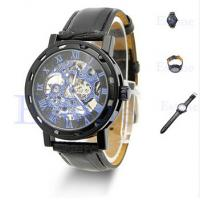 Fashionable Men Leather Strap Watches Waterproof 3 ATM With Transparent Dial Manufactures