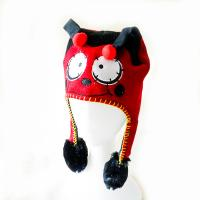 China Cheap knitting acrylic outdoor warm animal pattern red hat with hand's sensitive squeezer ballon hats for kids on sale