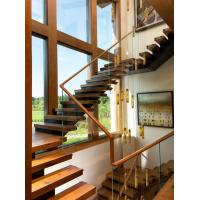 Wooden staircase straight stair with laminated glass railing modern design Manufactures