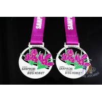 Flower Logo Double Side Sports Metal Award Marathon Medals For Schools Environmental Friendly Manufactures
