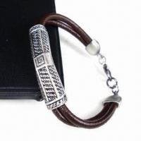 Brown Leather Bracelet with Thick Alloy Plating, White K or Silver Oxide, Fashionable Manufactures