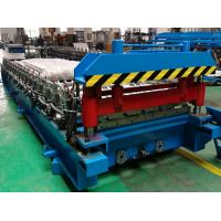 PLC Control Trapezoidal Roofing Sheet Roll Forming Machine With Auto Stacker Manufactures
