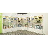 Quality Store Interior design of Wall cabinets by glossy painting with Tempered glass shelves in LED light display solution for sale