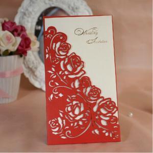 Red Rose Wedding Invitations Elegant Laser Cut Invitation Cards 2014 Convites De Casamento Free Printing+Envelope+Seal Manufactures