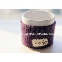 Cafe logo purple embroidery hand knitted mug warmer sleeve cup sweater for sale