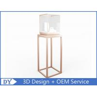 OEM manufacturing high end stainless steel museum pedestal display case with led spot lights Manufactures