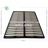 China Convenient Folding Metal Bed Frame With Wooden Slats Single / Double Size on sale