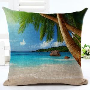 China Beach Throw Pillow Covers Seaside Tropical Coconut Palm Beach Chair Summer Decorative Cushion Covers Pillowcase(Seaside) on sale