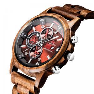 China Male Elegant Walnut Wooden Quartz Watch , Wood Face Watch Sporty Type on sale