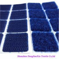 China Square Type Hook And Loop Fabric Sheets , Blue Velcro Sticky Pads A Garde wholesale
