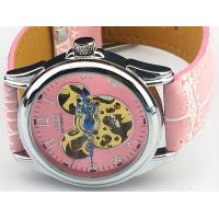 China Pink Mechanical Ladies Automatic Watch Skeleton , Leather Wrist Watches on sale