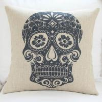 Custom print skull cushion cover,durable cotton linen cushion,sofa TV body support padding Manufactures