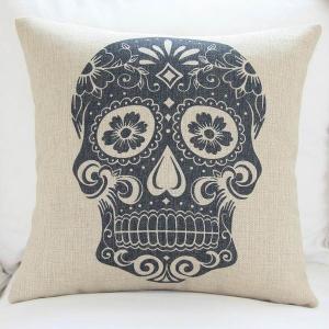 Custom print skull cushion cover,durable cotton linen cushion,sofa TV body support padding Manufactures