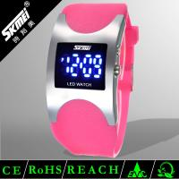 Comfortable Silicone LED Digital Wrist Watch Pink For Girls Waterproof Manufactures