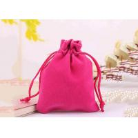 Durable Style Small Velvet Drawstring Bags Cotton Flap Soft Pink Colored Manufactures