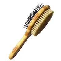 China Vent Design Pet Grooming Comb , Dog Shedding Brush Solid Wood Handle on sale
