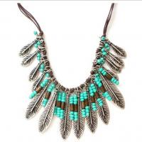 Bohemia style leaves leather tassel turquoise chunky necklace Manufactures