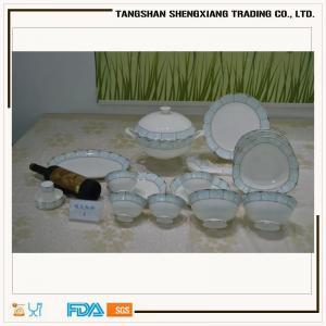 China 61pcs round shape decal  bone china  dinner set on sale