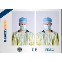 Yellow Disposable Isolation Gowns One Time Use Knitted Cuff Barrier GownsAgainst Liquid Manufactures
