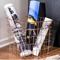 China Carbon Steel Rectangle 13 Inch Wire Basket Copper Magazine Storage Basket on sale