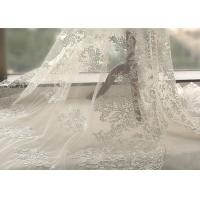 White Tulle Corded Bridal Stretch Lace Fabric , Floral Embroidered Wedding Dress