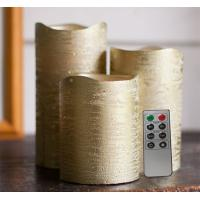 China Battery Operated Gold Metallic Wax Led Candles With Rustic Golden And Silver Color on sale