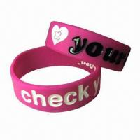 Glow-in-the-dark Luminous Bracelet, Made of Silica Gel, ideal for Promotional Gifts Manufactures