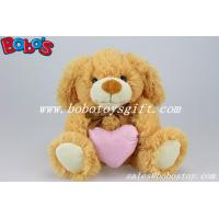 Brown Dog Stuffed Animal Toy With Pink Heart Pillow Manufactures