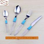 Snowy White Transparent Plastic Handle Cutlery,Flatware Set Manufactures
