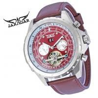 China Skeleton Mechanical Mens Automatic Watch Winner , Deep Red Genuine Leather Band Watch on sale