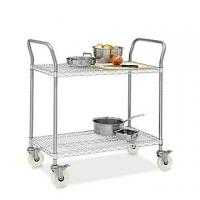 Restaurant Wire Utility  Cart , 2 - Layer Wire Mesh Rolling Cart 30W X 14D X 38H Manufactures