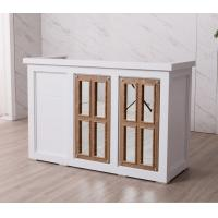 Nordic Design White Reception Desk With Display Case Mirror Customized Size Manufactures