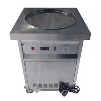 Single Round Pan Stir Thai Rolled Ice Cream Machine / Fried Ice Cream Maker Manufactures
