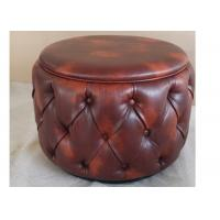 Leather Round Ottoman Hotel Bedroom Furniture Sets FSC / SGS / ISO 9001 Manufactures