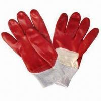 Working Gloves with Cotton Interlock Lining and Red PVC Coating Manufactures