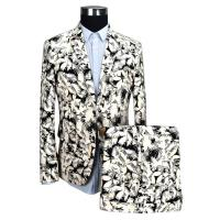 Mens Printed Suits Wedding Suits Two Buttons Beige Custom Size Zipper Fly Manufactures