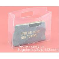 Promotion Transparent Clear Shopping Pvc Bag With Custom Print Nylon & PVC Material Combined Custom Tote Bag Shopping Ba Manufactures