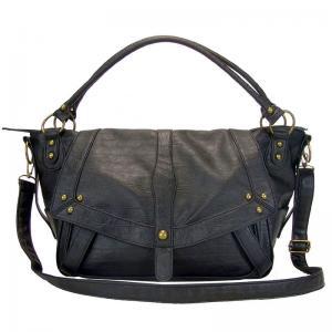 China Black Leather Tote Handbag Big on sale
