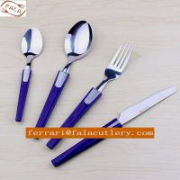Quality Chinese 72Pcs Rose Madder Plastic Handle Cutlery With PVC Box for sale