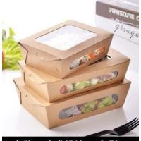 China Disposable Bio-degradable Custom made Various Styles Kraft Paper with PLA WindowLid Salad Box on sale