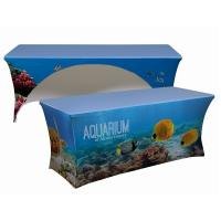 Trade Show Customized Size Stretch Fabric Table Cover Dye Sublimation Printing Manufactures