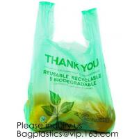 China Biodegradable Reusable Plastic T-Shirt Bag Eco Friendly Compostable Grocery Shopping Thank You Recyclable bagease packag on sale
