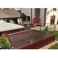 Exterior Stainless Steel And Glass Railing Systems , Steel Railing With Glass Designs For Balcony Manufactures
