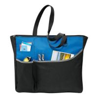 Recycled Custom Black Polyester Tote Bags Logo Printed For Travel Manufactures