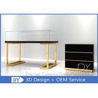 Quality Wood Stainless Steel Jewelry Display Cases With Led Matte Black + Mirror Gold Pre Assemble for sale
