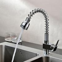 Single Hole Pull-Out Kitchen Faucet With Press Button , Sink Mixer Tap
