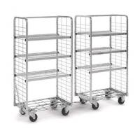 Metal Customize Supermarket Roll Cages With Removable Flat Shelves for sale