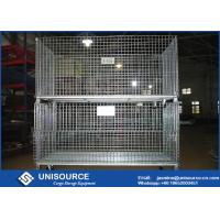 Durable Welded Steel Wire Storage Cages , Industrial Stackable Pallet Cages Manufactures