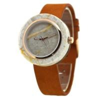 China Ivory White Marble Stone Dial/ Japanese Quartz Wood Watch With Genuine Leather Strap on sale